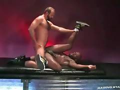 White Mature Bear Drills Black Dude 3