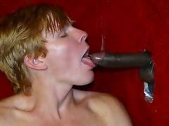 Ginger guy plays his penis near gloryhole but he needs to suck delicious black rod to get really turned on.