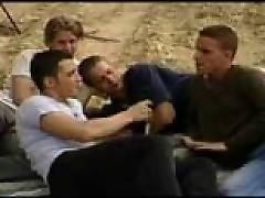 Group orgy young guys at the beach gangbanging horny stranger